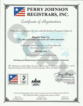 Doppler Gear ISO 9001:2008 Certificate